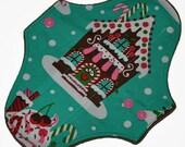 Light Hemp Core- Gingerbread Houses Reusable Cloth Pantyliner Pad- WindPro Fleece- 8.5 Inches