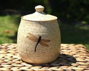 Ceramic DRAGONFLY Sugar Jar - Handmade Speckled Cream DRAGONFLY Lidded Covered Jar - Ready To Ship