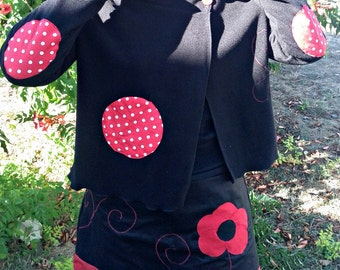 Polar jacket black and red with polka dots