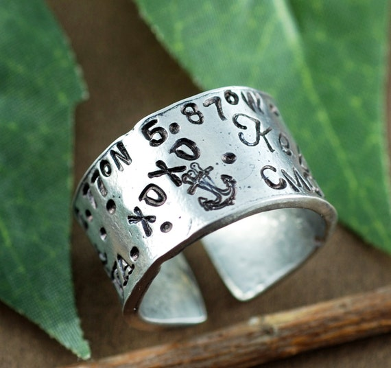 Custom Pewter Ring, Secret Message Ring, Silver True North Ring, Hand Stamped Ring, Roman Numeral Ring, Personalized Ring, Adjustable RIng