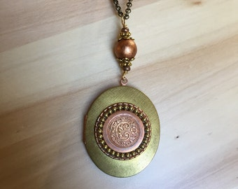 One of a Kind Brass Locket with Vintage Copper Filigree Embellishment