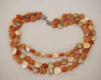 Three Strand Carnelian Fresh Water Coin Pearl Necklace Sterling Silver Clasp