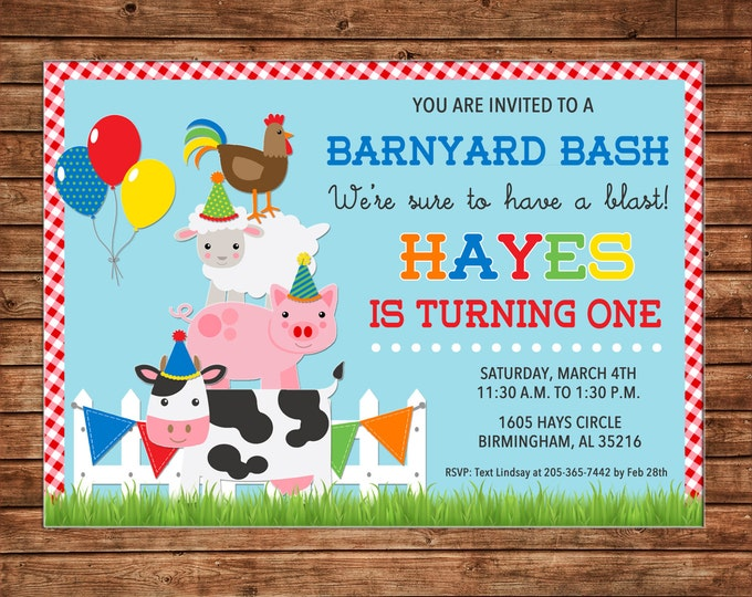 Boy or Girl Barnyard Barn Farm Petting Zoo Animals Balloons Gingham Check party Birthday Invitation - DIGITAL FILE