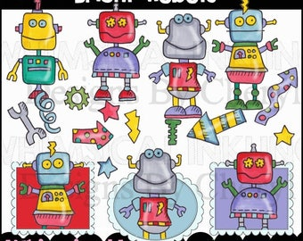 Bright Robots Clipart Collection - Immediate Download
