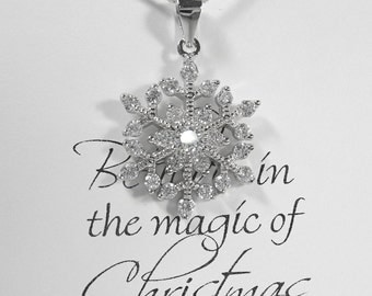 Winter Snowflake Necklace, Sterling Silver Snowflake Necklace, Christmas Gift Necklace, Winter Wedding Necklace, Bridesmaids' Gift Necklace