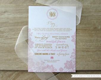 Wedding I Spy Card, Wedding I Spy Game, Wedding Scavenger Hunt Game, Wedding Guest Photos, Wedding Activities, Instagram Card, Wedding Table