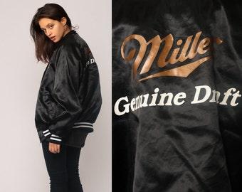 Satin Bomber Jacket MILLER LITE Beer Jacket 80s Baseball Jacket Black Genuine Draft Shiny Coat 1980s Vintage Uniform Snap Extra Large xl