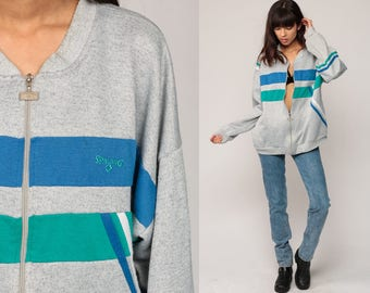 Zip Up Sweatshirt SPALDING Retro Track Jacket 80s Striped Warmup Jacket Hipster Grey Striped 1980s Sport Vintage Gym Green Blue Extra Large