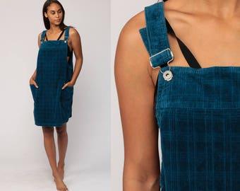 Corduroy Dress Jumper Dress 90s Mini Overall Pinafore 1990s Grunge Pocket Vintage Minidress Sleeveless Smock Blue Large
