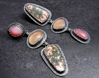 Ocean Jasper Peach Moonstone and Pink Opal Dangling Asymetrical Sterling Silver Earrings