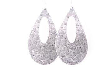 """Bold sterling silver earrings in a large teardrop shape embossed with a unique brush stroke pattern - """"Silver Wheat Fields Earrings"""""""
