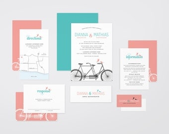 The 'Payton' Romantic Tandem Bicycle Wedding Invitation Suite (Printable PDFs)
