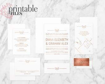 The 'Kimberley' Rustic Modern Wreath Rose Gold Foil Wedding Invitation Suite (Printable PDFs)