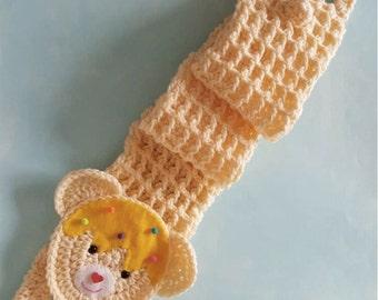 crochet bear scarf vanilla sweet bear ships now
