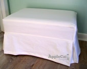 Ottoman Slipcover Topstitched and Tailored Skirts Washable Slipcover Ottoman Cover