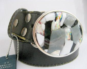 Moonstruck handmade glass buckle, leather belt, white black