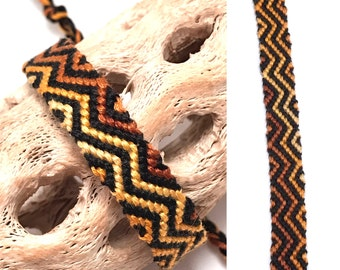 Friendship bracelet - zigzag - embroidery floss - macrame - knotted - woven - black - brown - striped - tribal - thread - string