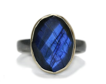 Labradorite cocktail ring in sterling silver with 14Kt gold setting, custom size