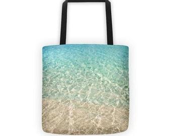 water resistant beach tote bag, market bag, ocean print reusable grocery bag, tropical grocery tote, farmers market tote bag beach print