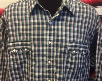 XL mens Rockmount plaid sawtooth western shirt