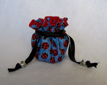 Traveling Jewelry Bag - Mini Size - Travel Tote - Fabric Pouch - Drawstring Bag - BITTY BUGS