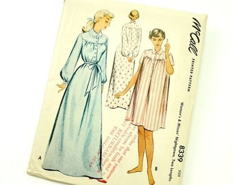 Shop Sale Vintage 1950s Womens Size 12-14 Nightgown in Two Lengths McCalls Sewing Pattern 8339 / Bust 30-32 / Complete