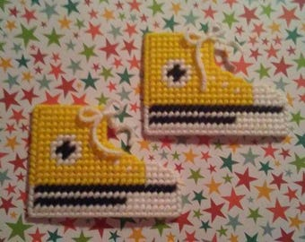Handmade Yellow Converse Shoe Magnets Plastic Canvas