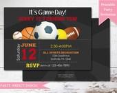 Sports Birthday Invitation, All Sports Birthday Invitation, Printable . Print Your Own