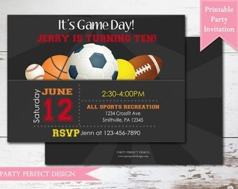 Sports Birthday Invitation, All Sports Birthday Invitation, Printable . Print Your Own