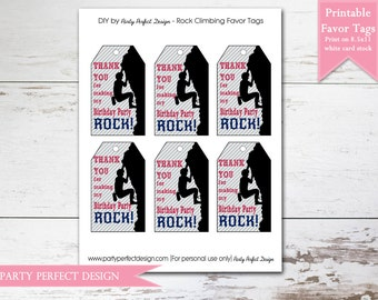 Rock Climbing Favor Tags, Instant Download