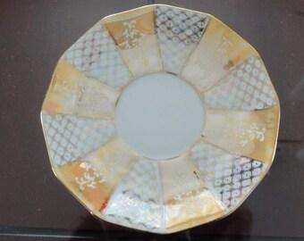 60s  White & Peach china saucer Fine China A-906