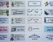 40 PRE-CUT PreDesigned or Custom Fabric Clothing Labels {colorfast/fray-proof/iron-on/sew-in}