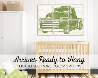 Vintage Pickup Truck Art - Perfect for a Vintage Truck Nursery Theme or Toddler Room Decor