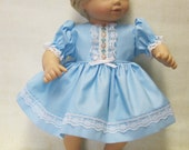 Pastel Blue Pin-Dot Dress and Panties for Bitty Baby Doll