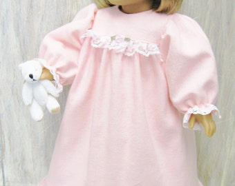 Pink Flannel Nightgown for American Girl Doll