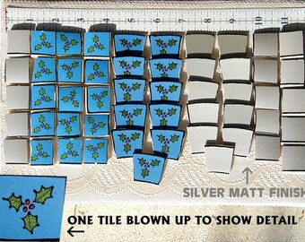 Holly Berries and Silver Delight Mosaic Tiles