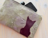 Unique hand painted canvas pouch with leather kitty application - wearable art