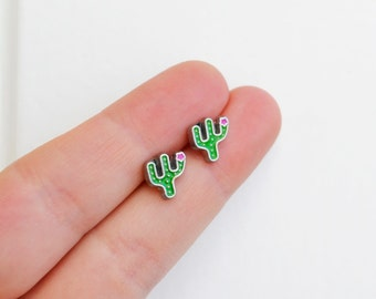 Cactus Earrings, Cacti Earrings, Peyote Cactus, Handmade Earrings, Tiny Enamel Studs, Kawaii Posts, Hipster Trendy Miniature Posts