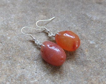 Natural Carnelian earrings -  raw stone jewelry handmade in Australia - ethical sourced uncut crystal jewelry