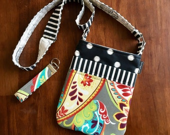 Cross Body Adjustable strap - Paisleys - duck cloth - free matching key chain for a limited time