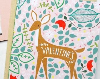 Deer Valentines Day Card, Valentines Deer Card, Deer Vday Card, Deer V Day, Blank Deer Card, Deer Valentines Gifts, Deer Love Card