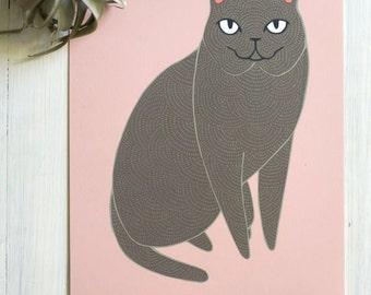 Gray Cat Art Print, Gray Cat Print, Grey Cat Illustration, Cat Lady Art, Cat Lover Print, Home Decor, Gift for Her