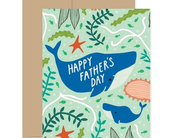 Happy Fathers Day Card, Fathers Day Whale Card, Card For Dad from Kids, Stepdad Card, Awesome Father's Day, Best Dad Whale Card