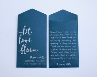 Navy Let Love Bloom Custom Seed Packet Wedding Favors - Many Colors Available