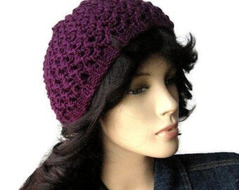 Knit Purple Hat, The Leslie Beanie, Grape Lace Beanie, Womens Hat, Spring Fashion, Knitted Beanie, Women Accessories