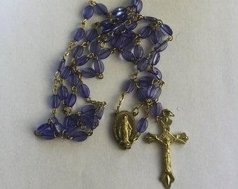 Vintage Blue Plastic Bead Rosary Beads