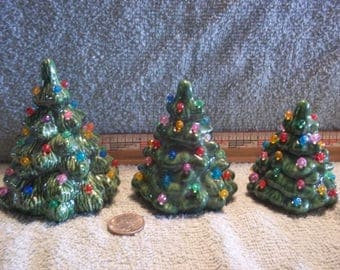 Three Pretty Little Ceramic Christmas Trees With No Snow All Different Sizes Tree