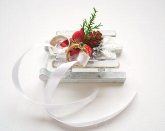 winter weddings ring bearer pillow, sled sleigh bearer pillow, rustic wedding, red berry white weddings decor, sleigh cake topper, woodland