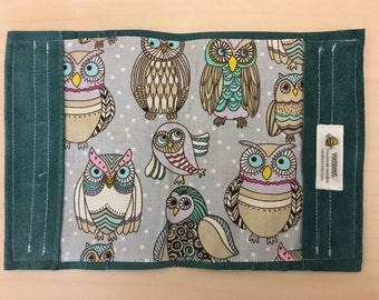 Stunning owls teal genuine leather passport cover holder