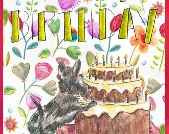 Scottie Pushing Birthday Cake...with Flowers!
